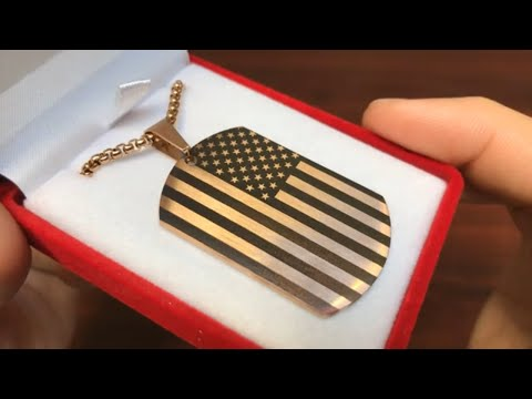 Laser Engraved USA American Flag Dog Tag Necklace Steel Pendant