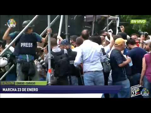 Llegada de Juan Guaidó a la marcha del 23 de enero