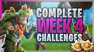 "Complete ""ALL WEEK 4 CHALLENGES"" Fortnite Battle Royale TUTORIAL - Battle Pass Week 4 Season 3 TIPS"