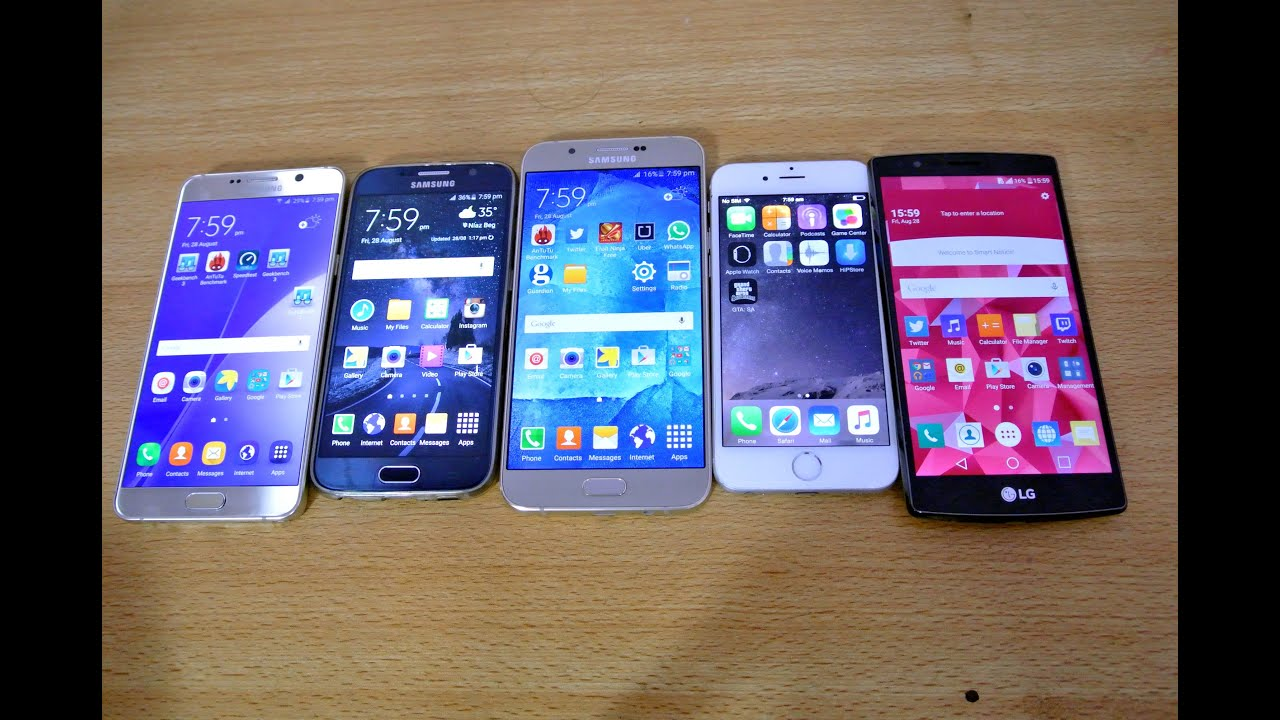 samsung galaxy note 5 vs iphone 6 vs galaxy s6 vs lg g4 vs