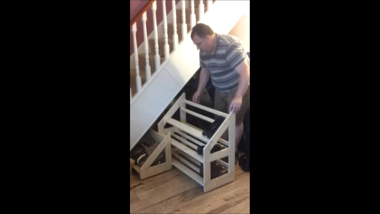 Under Stairs Sliding Shoe Rack  YouTube