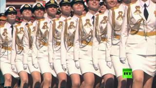 بالفيديو .. فوج نسائى روسي يشارك لأول مرة فى عرض النصر