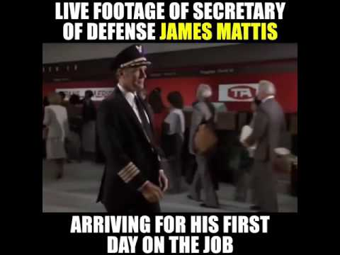 Secretary of Defense James Mattis arrives at work for his first day on the job.