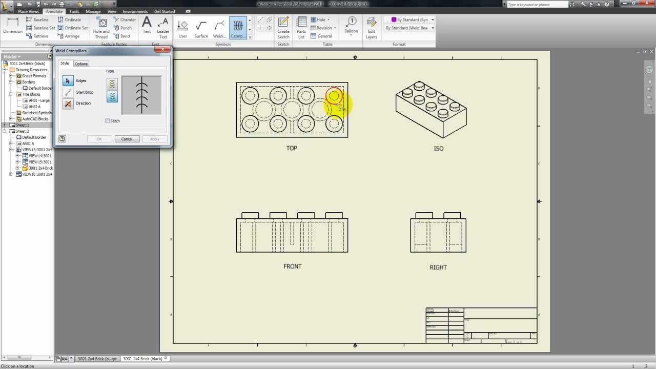 Autodesk Inventor Tutorial 29 Drawing Symbols Youtube