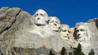 Close-up of Presidents faces Mount Rushmore