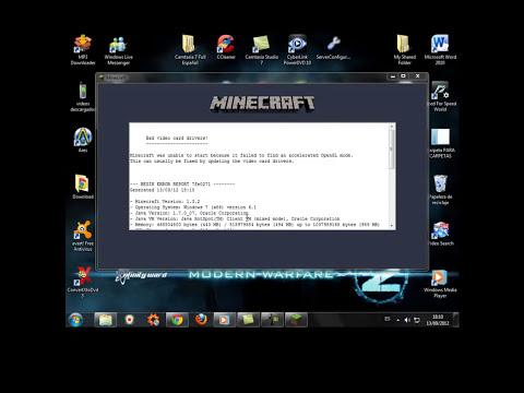 Como reparar error de MINECRAFT OPENGL 2016
