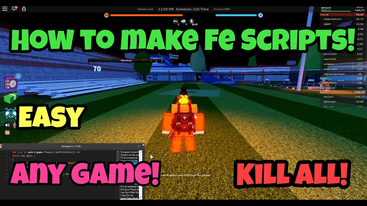 How To Make *FE SCRIPTS* For Any Roblox Game! Jailbreak Kill All, Kill  Aura, And More!
