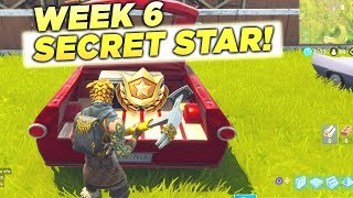 SECRET BATTLE STAR WEEK 6 SEASON 5 LOCATION! Fortnite Battle Royale Free Tier (Road Trip Challenges)
