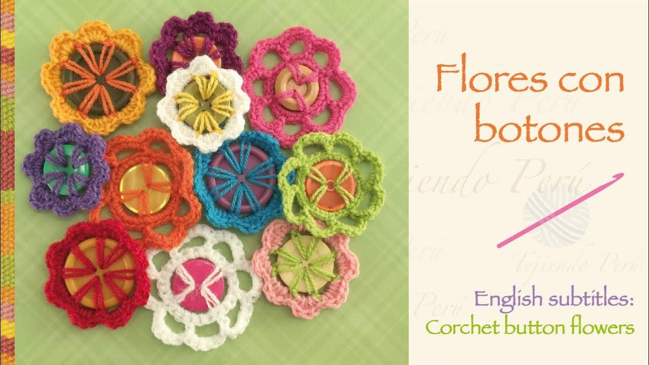 Flores tejidas a crochet con botones (a reciclar!) / Crochet button ...