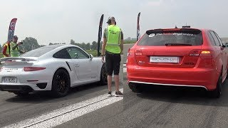Porsche 991 Turbo S vs Audi RS3 Half Mile Acceleration