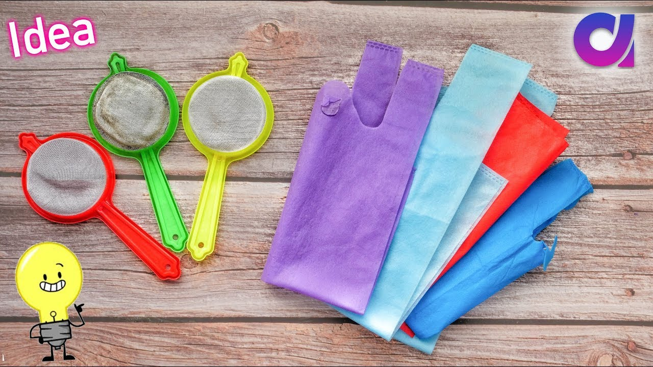 Best Use Of Waste Strainer Fabric Carry Bag Craft Idea Diy Home