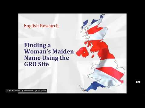 English Research: Finding a Women's Maiden Name Using the GRO Site - Kathryn Grant