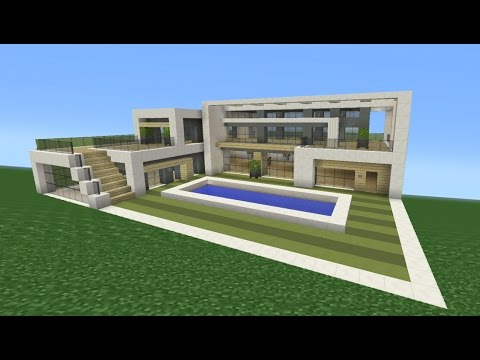 Minecraft tutorial how to make a modern mansion youtube for How to build a modern home