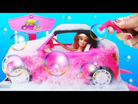 BARBIE CAR DRAW Stencil Patterns Soapy Bubbles Washable Markers Design Studio Mattel Toys