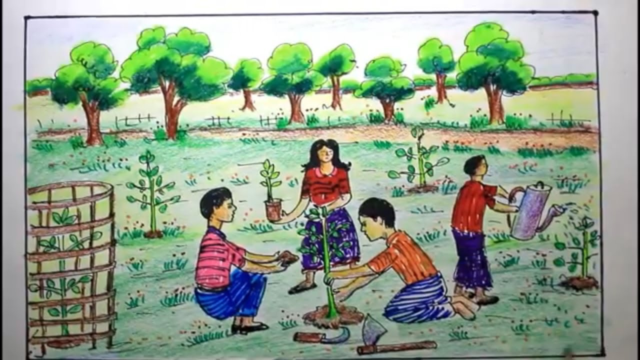 How To Draw Scenery Of Tree Plantation Step By Step Easy Youtube