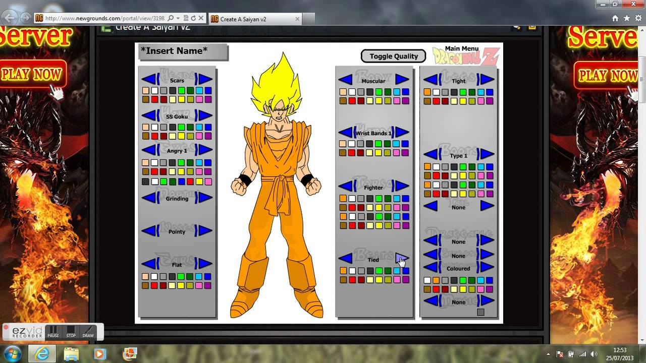 dragon ball z character creator youtube