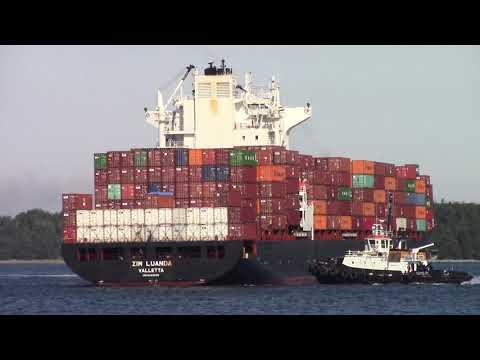 Container Ship ZIM LUANDA inbound into Halifax, NS - Halterm Terminal