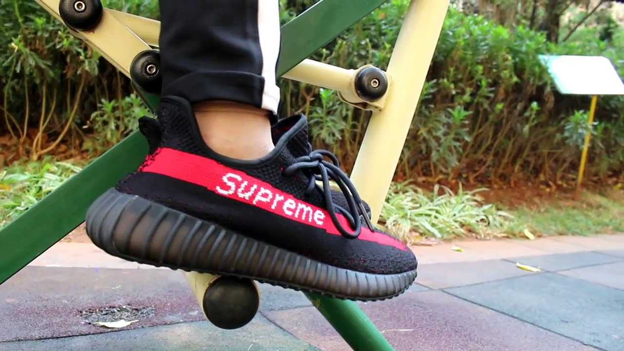 402c0e0bd63f ADIDAS YEEZY BOOST 350 V2 SUPREME X BLACK RED REVIEW - YouTube