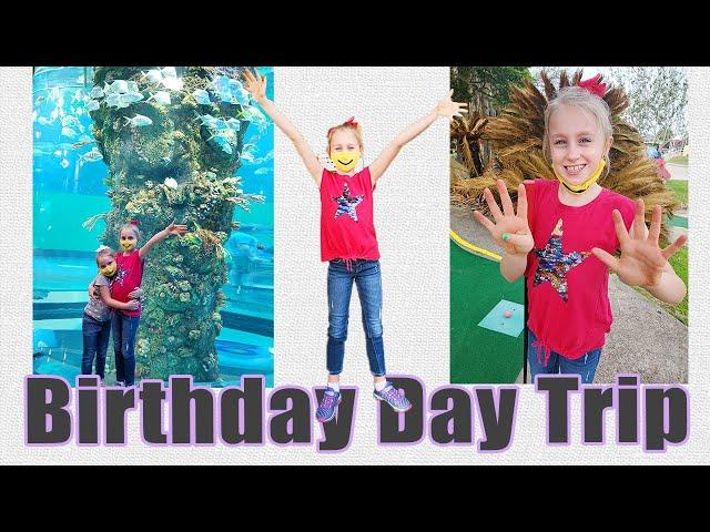 BIRTHDAY FUN DAY TRIP | Galveston Island Texas | Moody Gardens Rainforest Cafe | 9-Year-Old Birthday