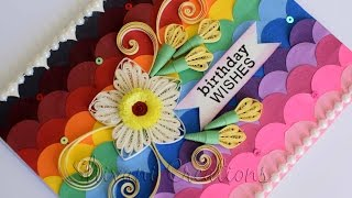 Quilling Birthday Card/ How to make Card backgrounds