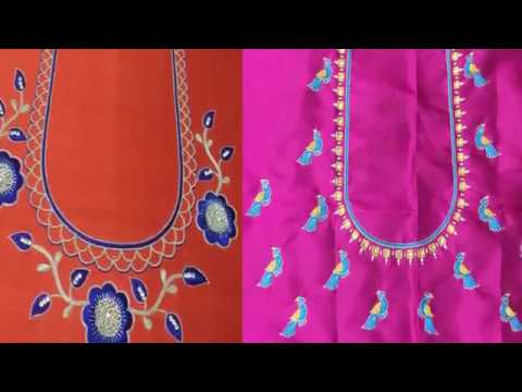 Simple Thread Embroidery Work Neck Designs For Silk Saree Simple