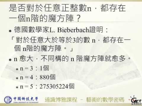 藝術的數學密碼 CH 1. 憂鬱中的魔方陣 - 魔方陣的故事 /  徐惠莉