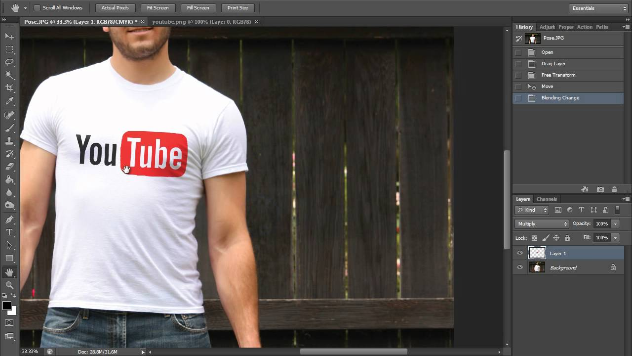 Learn How To Design T Shirts In Photoshop: How To Place a Graphic on a T-Shirt (HD) Photoshop Tutorial - YouTuberh:youtube.com,Design