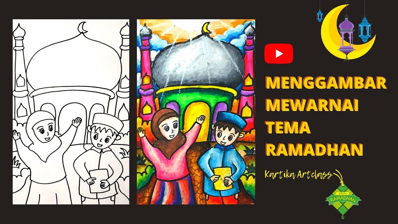MENGGAMBAR TEMA RAMADHAN MUDAH Menggambar Masjid Mudah
