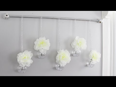 DOLLAR TREE DIY WALL DECOR | Hanging Flowers