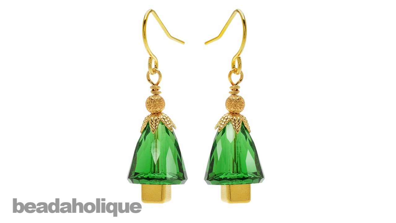 How To Make SWAROVSKI ELEMENTS Dome Bead Christmas Tree Earrings  - Make Christmas Tree Earrings