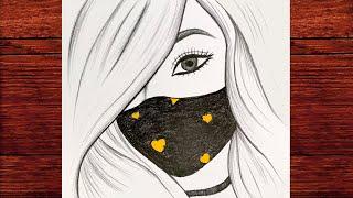 Kolay Maskeli Kız Çizimi - Çok Güzel Bir Kız Nasıl Çizilir - Çizim Mektebi Karakalem Çizimleri Kolay