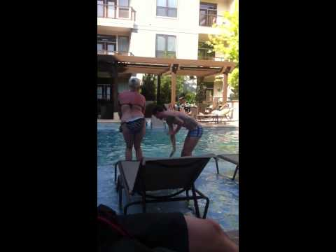 Guy dancing to Beyonce at pool party