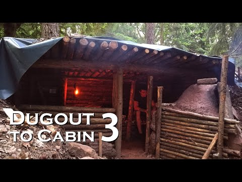 From DUGOUT To Small CABIN - Walls And Raised Roof, Dugout Shelter Part 3 // JustRandomPfusch