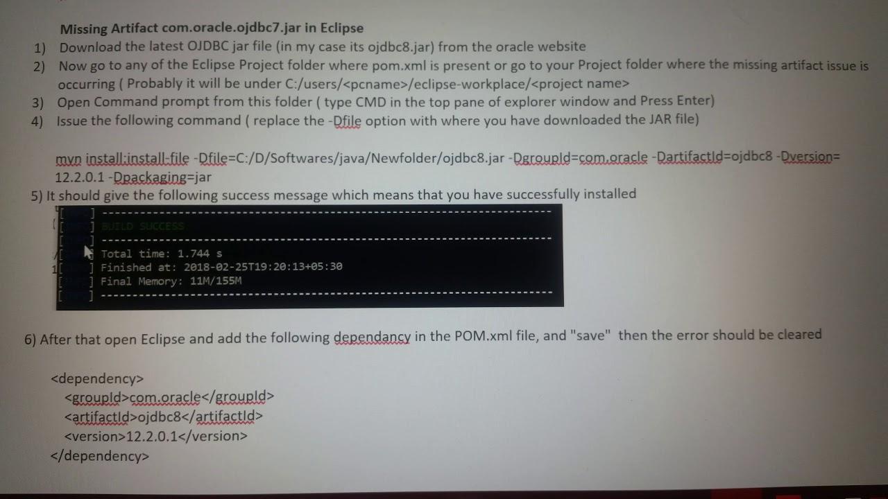 Missing artifact com oracle ojdbc jar file in eclipse