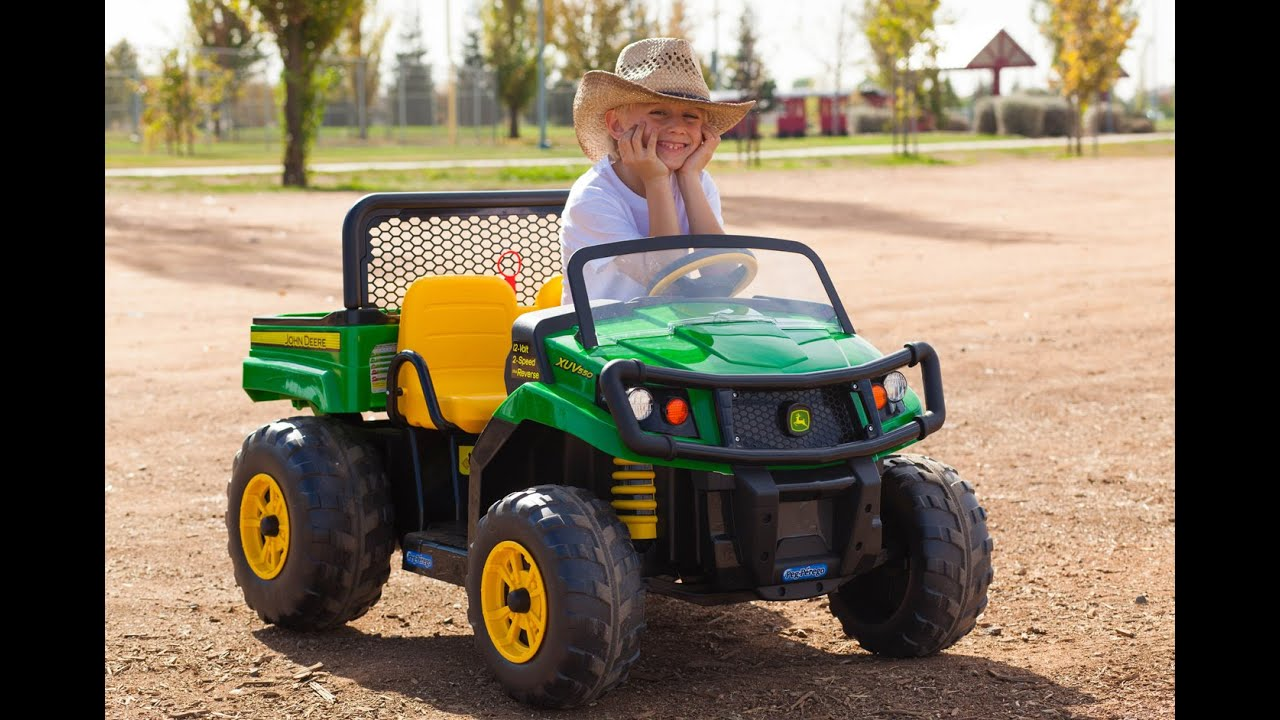 peg perego john deere gator unboxing and riding  [ 1280 x 720 Pixel ]
