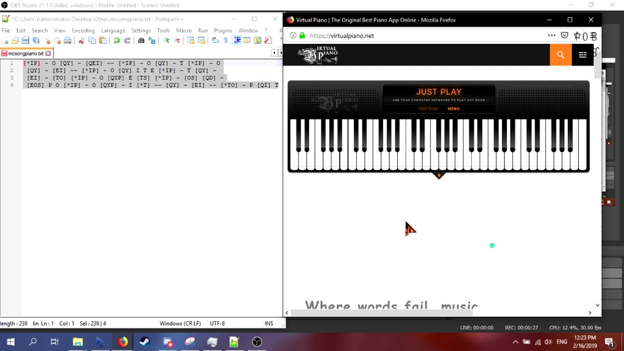 Minecraft By C418 On A Virtual Piano Youtube