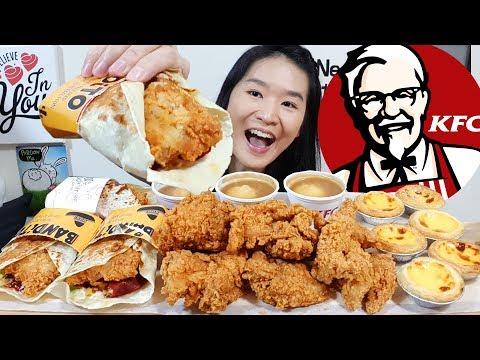 CRUNCHY!! KFC Zinger Tortilla Wraps, Hot & Crispy Fried Chicken, Egg Tarts | Eating Show Mukbang