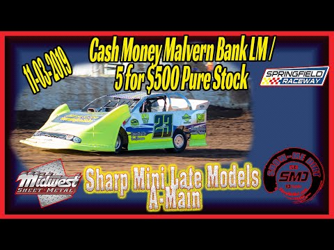 Sharp Mini Late Models A-Main Springfield Raceway 11➜03➜2019 Dirt Track Racing