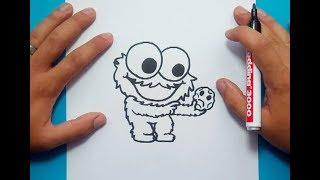 Como dibujar al Monstruo de las galletas paso a paso 3 - Barrios Sesamo | How to draw the Cookie Mon