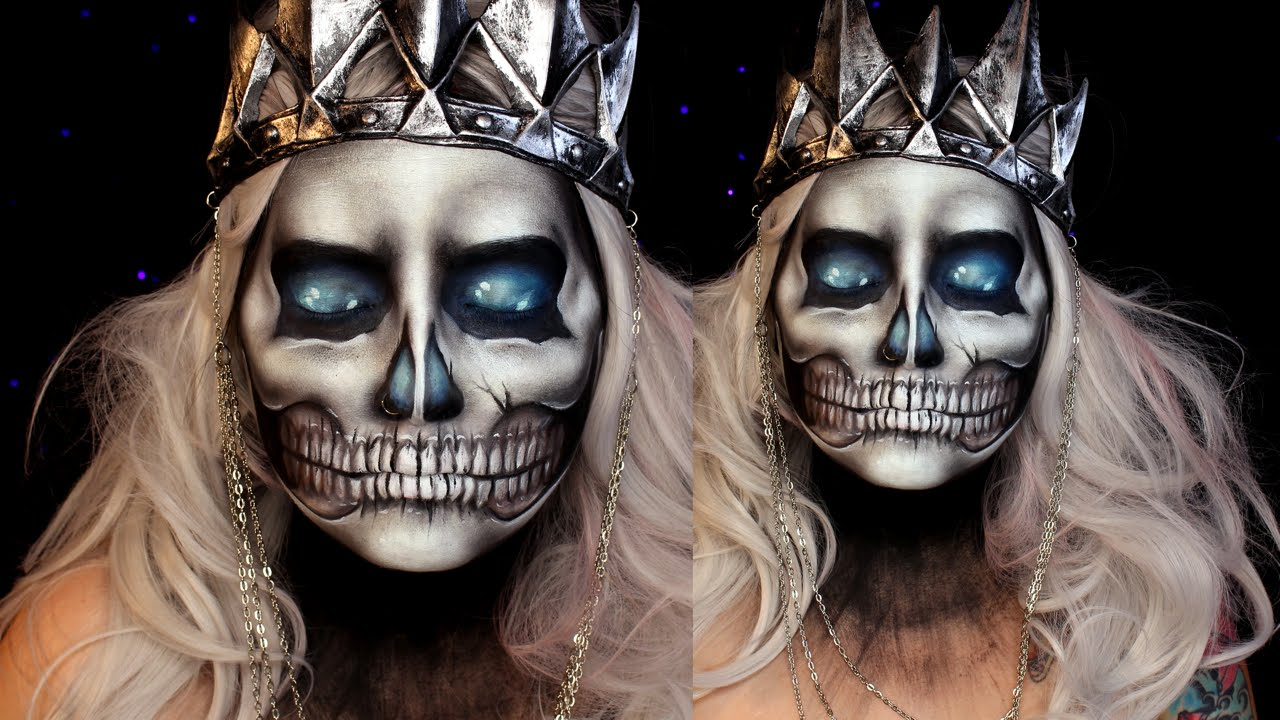 Skull Halloween Makeup Tutorial (Lich King) | Jordan Hanz | World ...