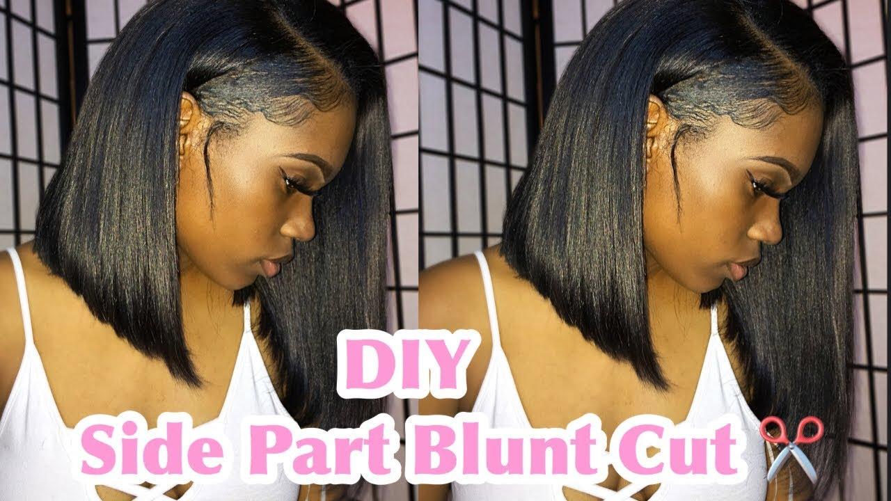 Diy Side Part Blunt Cut Step By Step Youtube