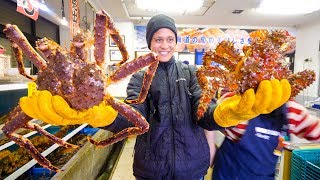 RED KING CRAB vs. HANASAKI CRAB!! Big Japanese Food in Hokkaido, Japan!