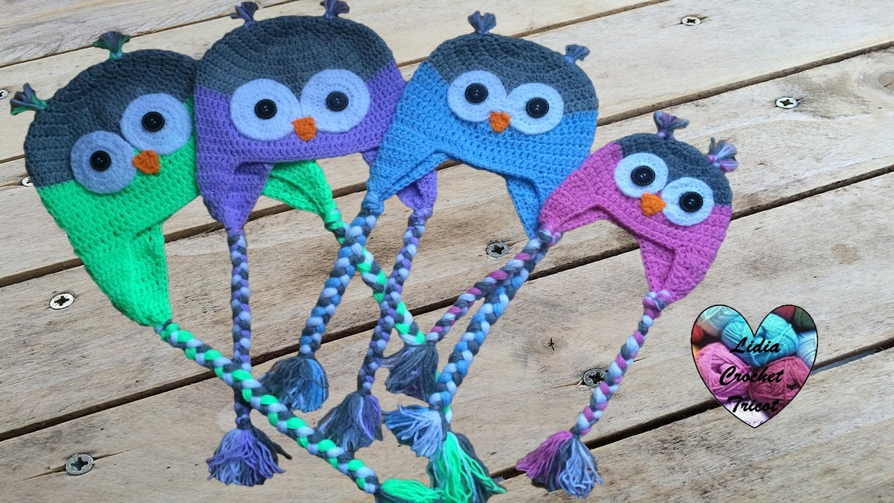 Bonnet hibou crochet (toutes tailles)   Owl beanie crochet (all sizes,  english subtitles) - YouTube 6c01bff07a1