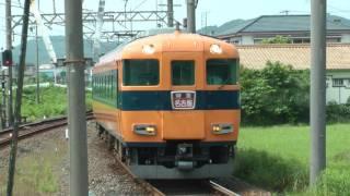 近鉄12600系重連の8両編成 上之郷駅通過と構内踏切ブザー