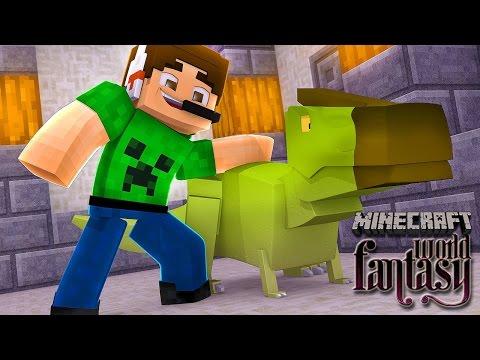 Farms e o primeiro DINOSSAURO !! Minecraft Fantasy World #06 Mundo de Fantasia