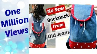 diy no sew backpack from old jeans    recycle old denims
