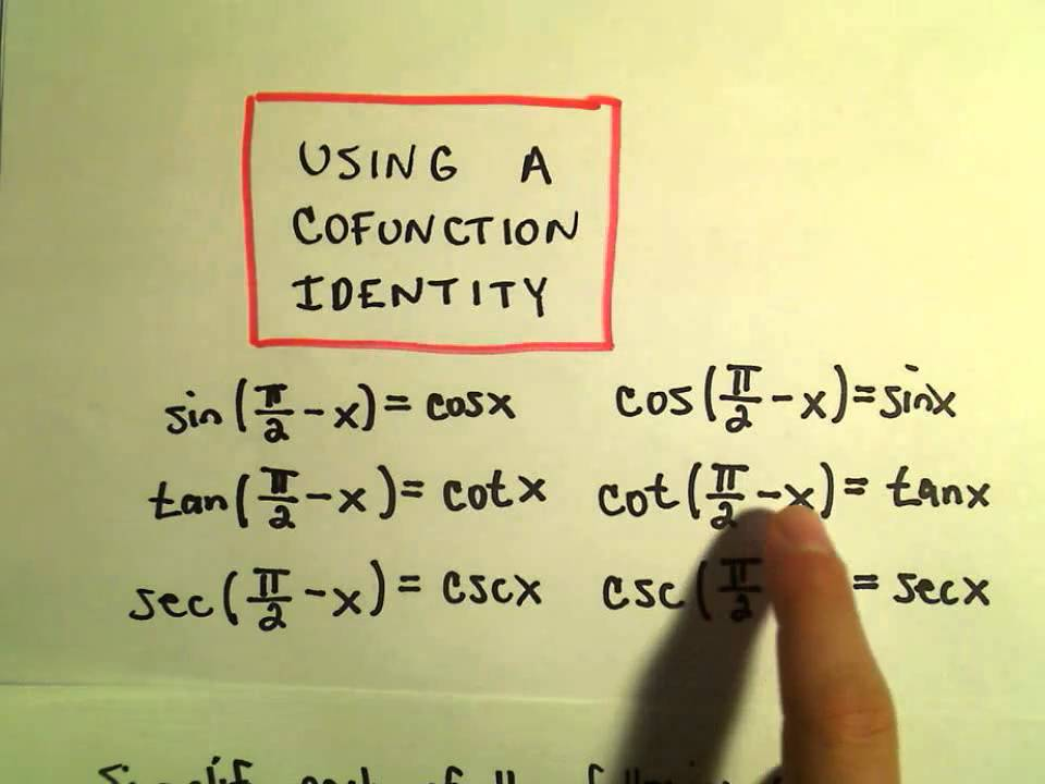 Cofunction Identities Example 3 Youtube
