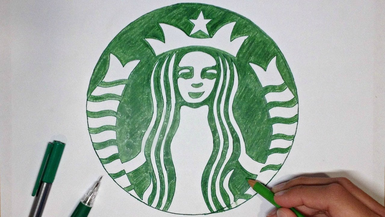 How To Draw The Starbucks Logo Logo Drawing