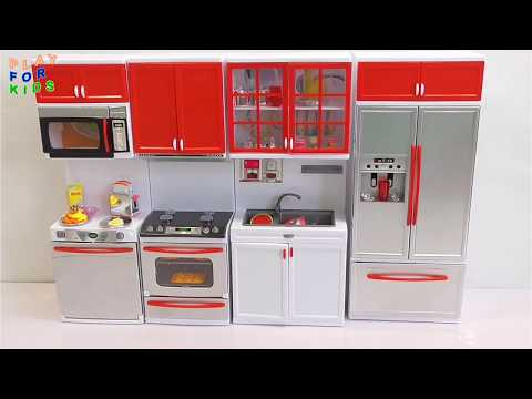 Toy Kitchen Set for Kids Unpacking & food cooking toys! 🎁