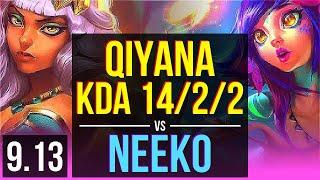 QIYANA vs NEEKO (MID) | KDA 14/2/2, Godlike | NA Diamond | v9.13